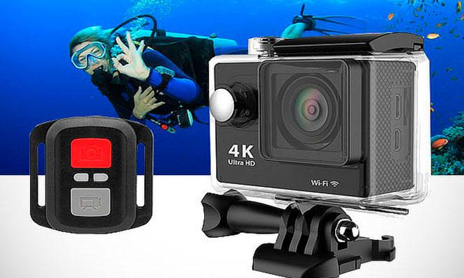 Camara filmadora acuatica 4K ultra HD control