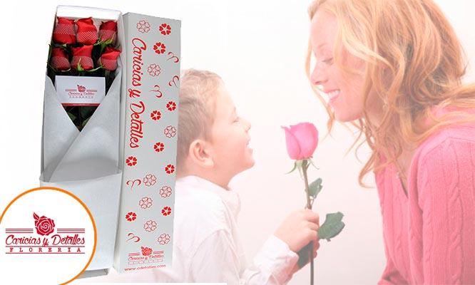 6 o 12 Rosas rojas perfumadas en ramo o caja tarjeta globo