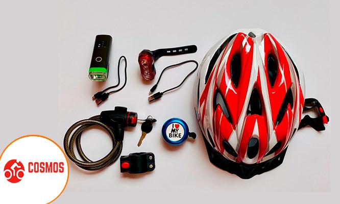 Kit de bici Casco luz led delantera y trasera timbre cadena delivery