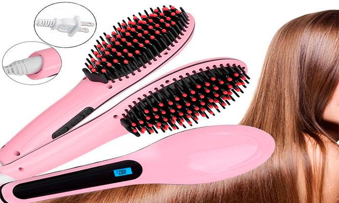 Cepillo laceador HQT-906 alisador electrico para cabello ¡Peina y alisa en una pasada!