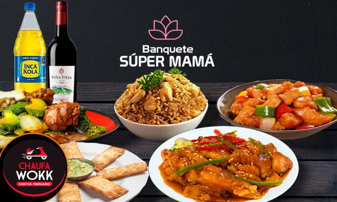 Banquete Familiar Super Mama para 5 personas con gaseosa y vino
