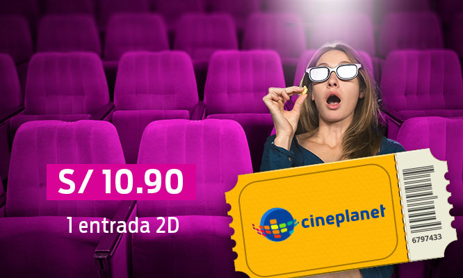 Cineplanet 2 entradas 2D 2 gaseosas cancha gigante recargable Valido para Lima y Provincias