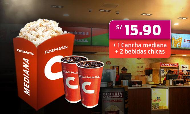 Combo Cinemark cancha mediana 2 bebidas chicas