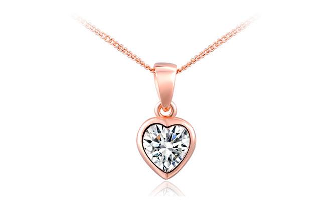 7192943e9564 Miraflores  Collar de corazón enchapado en oro rosa con dije de zirconias  suizas. 1