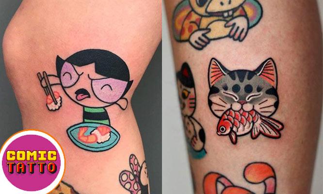 02 Tattoo Kawaii & Old schoold de 7x7cm con Comic Tattoo Studio
