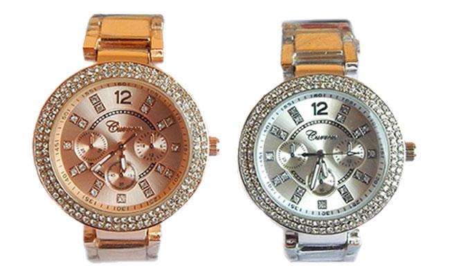 Duo de relojes Curren de metal oro rosa y plateado con incrustaciones de cristales