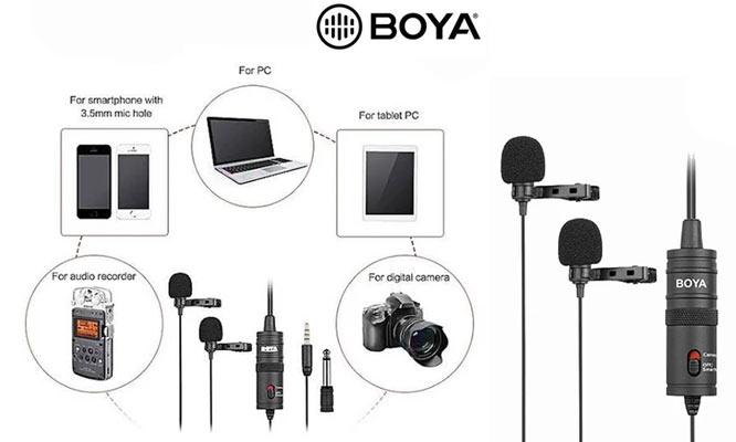 Microfono Solapero BOYA BY-M1DM Doble Para Camaras Smartphones Grabadores y PC