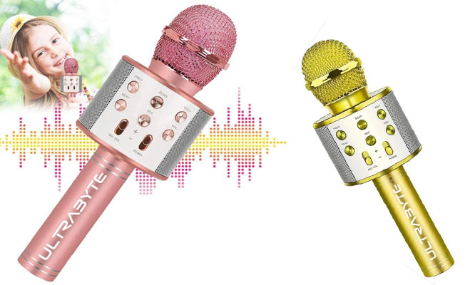 Parlante Microfono Bluetooth Ultrabyte WS-858 para Karaoke - Niños y Adultos ¡Elige color!