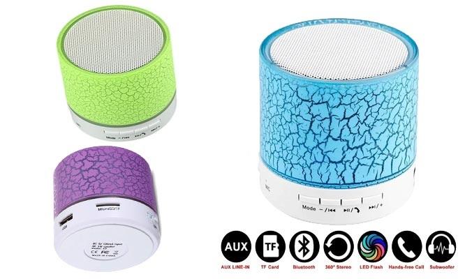 Parlante bluetooth stereo A9 radio FM MicroSD USB auxiliar con luces LED