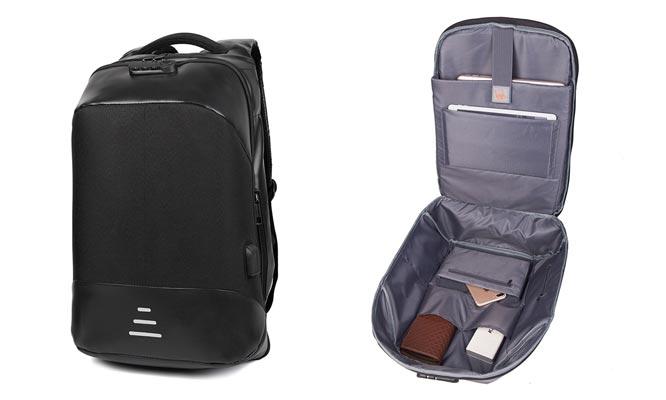 Mochila de viaje anti-robo para laptop con puertos USB y audifonos 35mm y mas