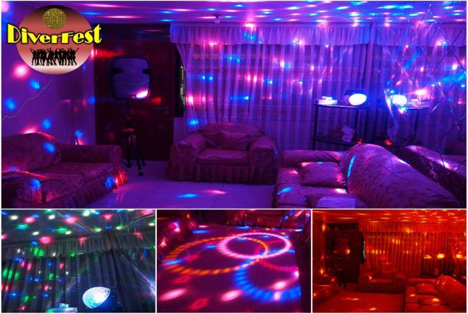 Fiesta en casa luces bola magica cortadora humo equipo DJ y mucho mas