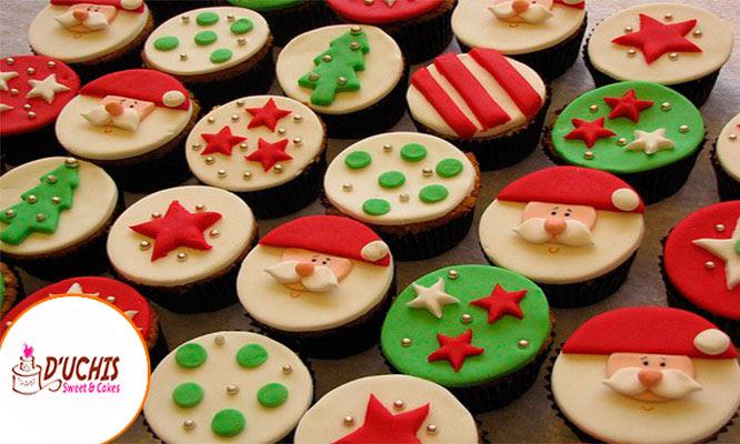 6 12 o 24 cupcakes navideños decorados con Duchis Cakes & Sweet