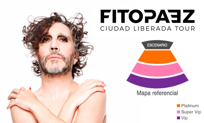 Fito Paez entrada VIP o Super VIP Ciudad Liberada Tour 26/04