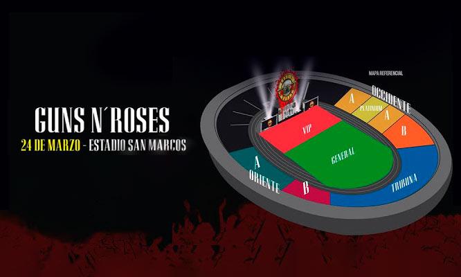 Entrada a concierto Guns N' Roses Not In This Lifetime 24/03 UNMSM