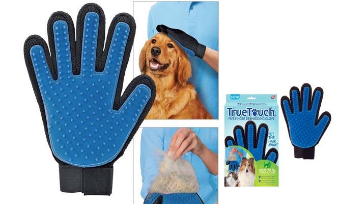Guante de silicona masajeador para mascotas perros y gatos y ¡Olvidate de los pelos!