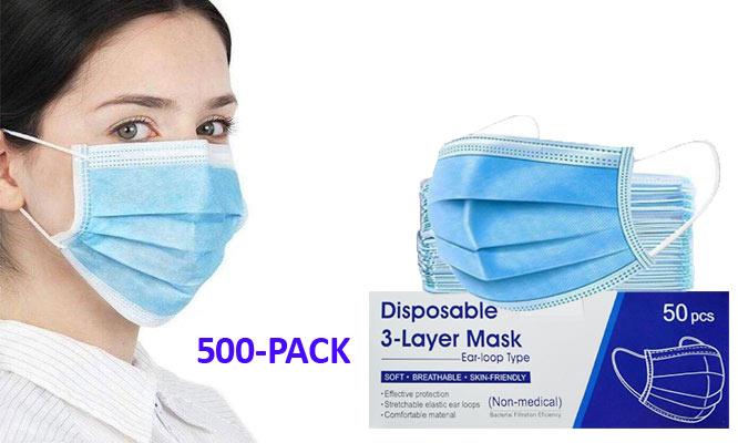 500 mascarillas 10 cajas - 3 pliegues con ajuste nasal ¡Con delivery en 24hrs!
