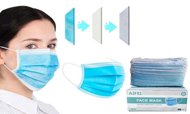 50 unidades 01 caja de mascarillas de 3 pliegues con ajuste nasal ¡Incluye delivery!