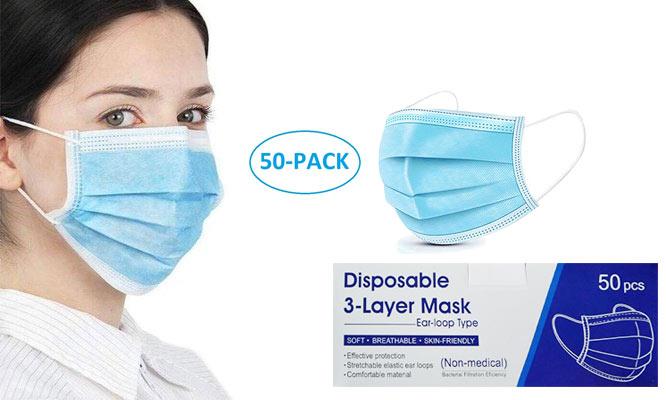 SALE 50 mascarillas de 3 pliegues con ajuste nasal ¡Con delivery en 24hrs!