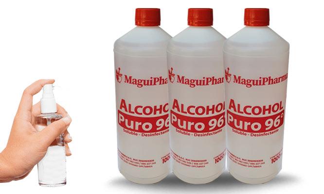 2 o 3 frascos de alcohol de 96° de 1 LT aprobado por el MINSA¡Incluye delivery!