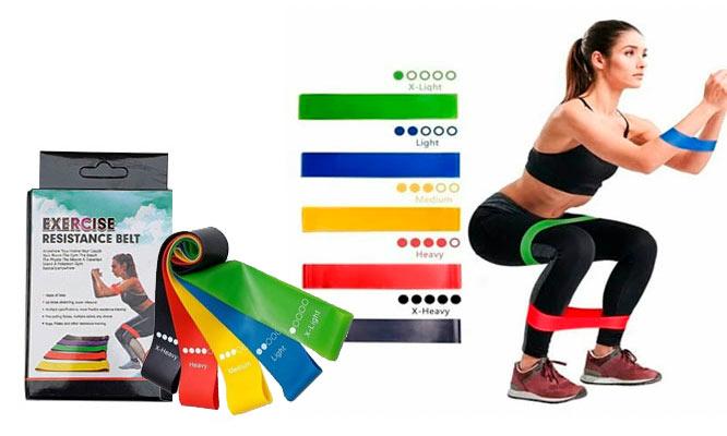 Set de 5 bandas elasticas de resistencia para ejercicios ¡Con delivery en 24hrs!