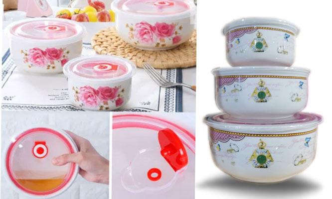 Set 5 Bowls de ceramica con tapa hermetica y valvula ¡Delivery en 24 hrs!