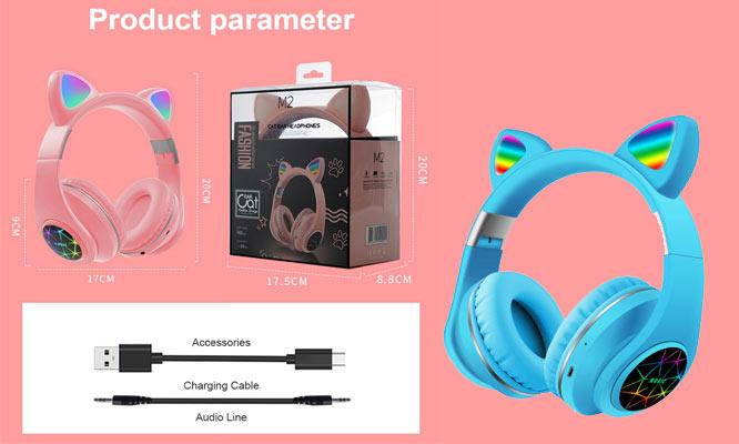 Audifonos de Gato M2 con MIC recargable plegable Blt ¡Elige color! ¡Incluye delivery!