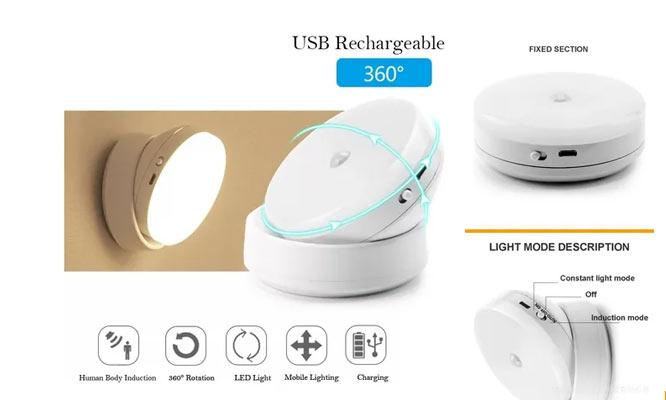 Luz Led con sensor de movimiento recargable con USB giratorio 360° ¡Delivery en 24 hrs!