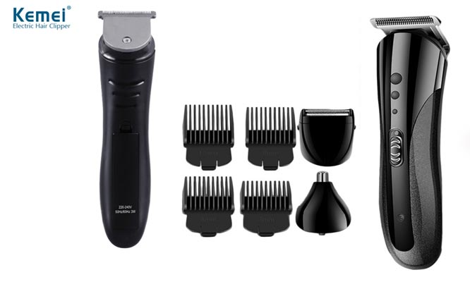 Maquina para cortar cabello 3 en 1 KEMEI inalambrica recargable - Barba Nariz y Orejas