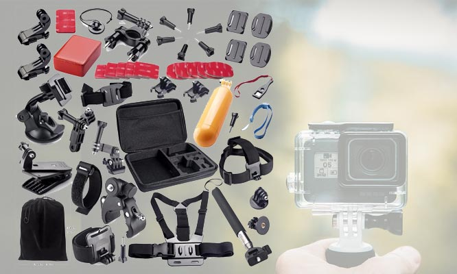 Kit Maletin de 50 Accesorios para GoPro Camara de Accion EKEN SJCAM