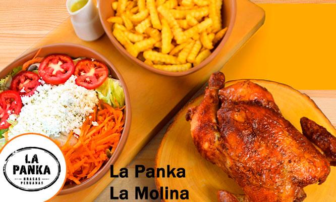 La Panka de La Molina Pollo entero a la brasa papas ensalada Chicha