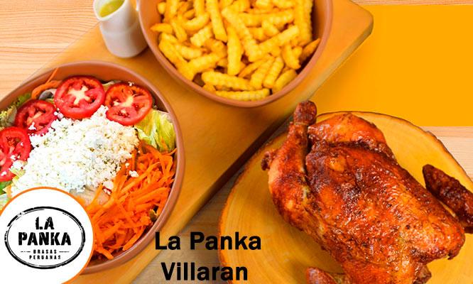 La Panka de Villaran Pollo entero a la brasa papas ensalada chicha