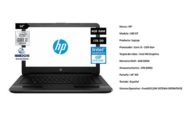 Laptop HP 240 G7 14 Corei I3 HD 1TB RAM 4GB