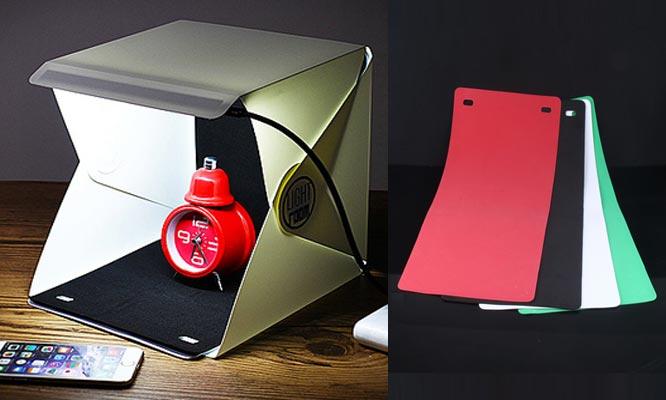 Mini Estudio Portatil de Fotografia Light Room MOD1 con luz LED plegable 04 Fondos