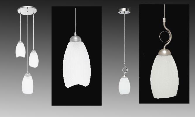 Luminaria de techo colgante 1 o 3 luces en vidrio craquelado y metal galvanizado