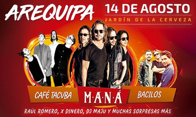 Jardin de la Cerveza Mana Cafe Tacuba Bacilos y muchos mas 14 de agosto ¡Elige zona!