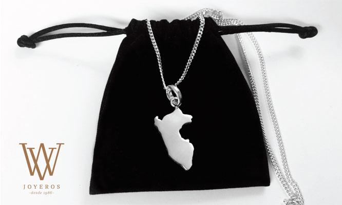 e685bd61a5ff Dije de mapa de Perú + cadena de plata 925 + bolsita de regalo + ...