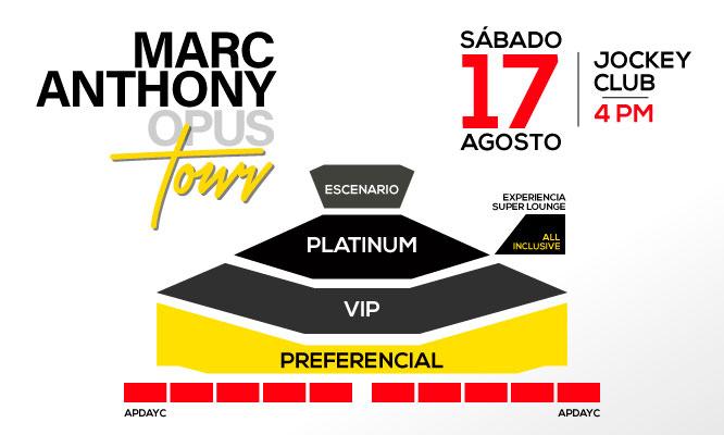 Entrada Preferencial VIP o Platinium a Marc Anthony Opus Tour sabado 17 de agosto