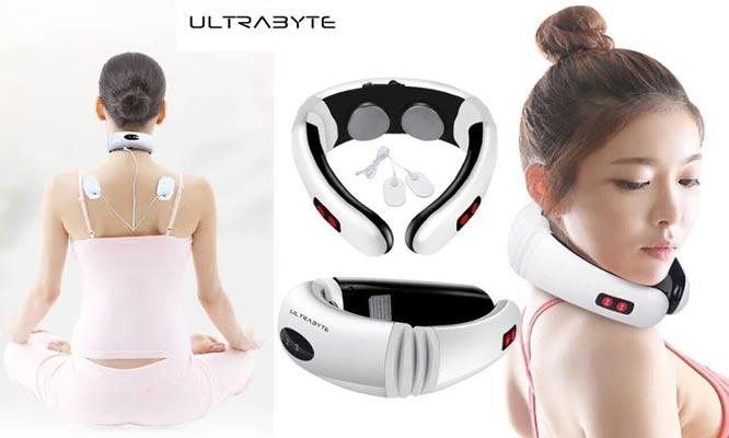 Masajeador electrico Ultrabyte MY-518 electrodos y discos magneticos 3D cuello y espalda