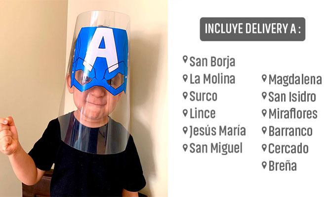Mascara facial protectora para niños de Polietileno ¡Incluye delivery!