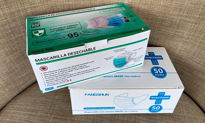 Caja de 50 Mascarillas 3 Pliegues certificadas CE delivery incluido