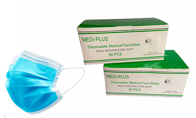 100 Mascarillas 3 Pliegues Mediplus Delivery 24 hrs