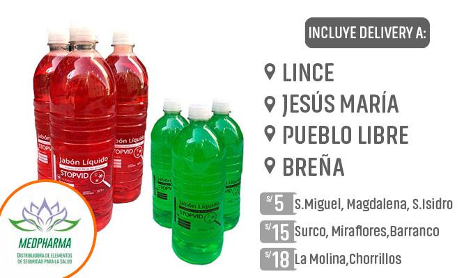 Jabon liquido de 1 litro Packs de botellas de 3 o 6 ¡Incluye delivery!