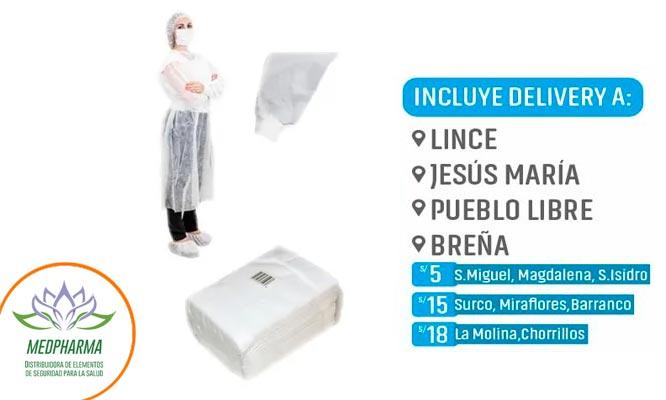 Pack de 03 batas descartables con Medpharma¡Incluye delivery!