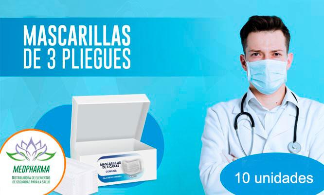 Pack 10 unidades de mascarillas quirurgicas 3 pliegues planas¡Incluye delivery!