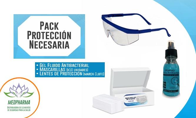 Packs de proteccion Mascarillas gel antibacterial pañitos o lentes protectores