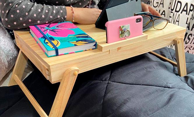 Mesita multiuso porta laptop 100% de madera pino delivery con toca madera