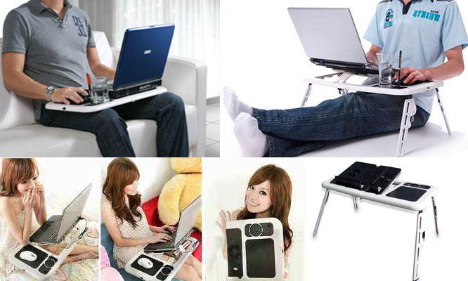 Mesa cooler para laptop plegable