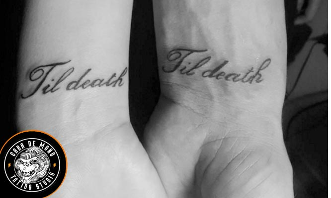 2x1 tatuaje de 6 cm - frase o palabra (negro grises)