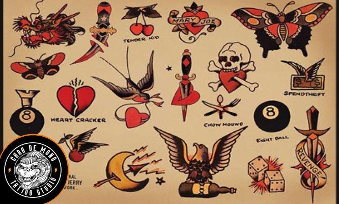 2x1 Tatuajes Old School de 5x5 cm - 5x5 para uno o dos personas en negro o dos colores