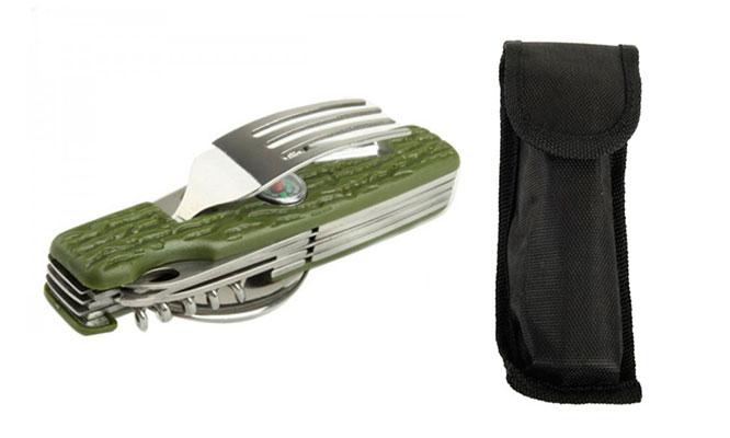 Herramienta multiusos tenedor cuchara cuchillo y mas son 11 opciones en 1